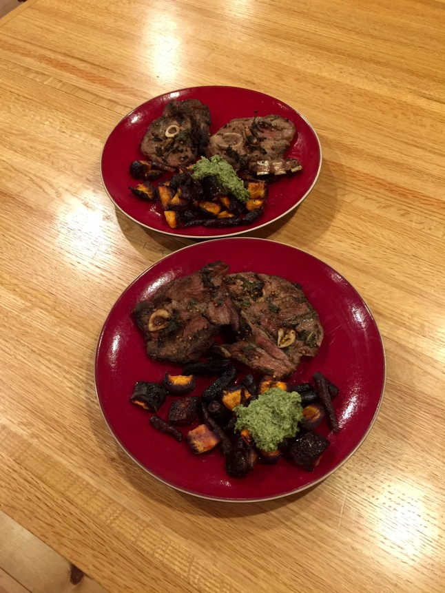 Lamb Pastrama and Carrot Top Pesto